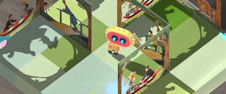 """Browsergame """"Rettet die Spielebücher"""", In-Game-Grafik (Jester Blank BgR, CC BY 4.0)"""